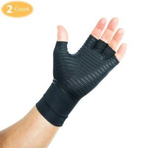 CompressionAttire Unisex Compression Gloves Infused With Copper (Black)