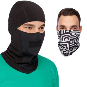 Cozia Design MaxPro Balaclava Ski Mask + Versatile Headband - Perfect Ski Bundle