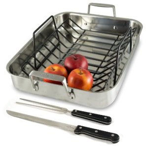 Culina® Oven to Stove 16 Roaster Pan Tri-ply Stainless Steel with Non-stick Roasting Rack and Bonus Carving Set.