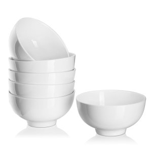 Dowan Porcelain SoupSalad Bowl, 6-inch Winter Frost White (Set of 6)