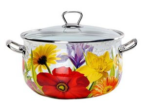 Europe Ware K1502520 Enamel 4 quart Casserole Pan with Glass Lid and Decorative Design