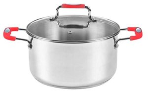 Europware 0130-28CA Stainless Steel 10.4 quart Casserole Pan with Glass Lid, Large, SilverRed