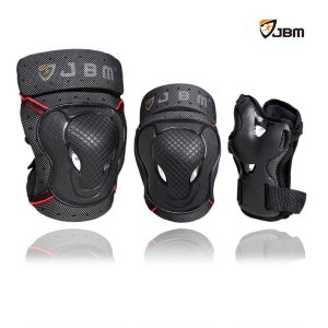 JBM BMX Bike Knee Pads and Elbow Pads with Wrist Guards Protective Gear Set for Biking, Riding,