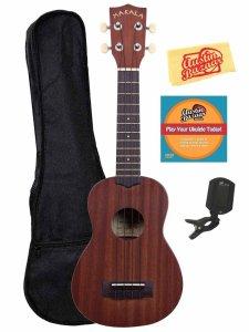 Kala MK-S Makala Soprano Ukulele Bundle with Gig Bag, Clip-On Tuner, Austin Bazaar Instructional DVD, and Polishing Cloth