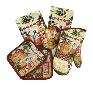 Kitchen Linen Set (Includes one oven mitt, two pot holders and two dish towels) (Olive Oil)