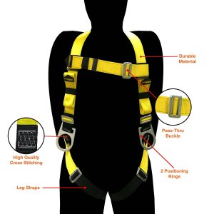 KwikSafety Fall Protection ANSI Multi-Purpose Construction Safety Harness with 3 D-Rings