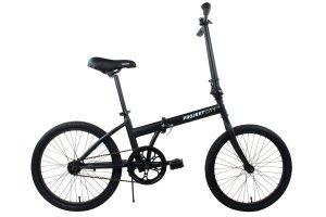 Projekt City - 20 inch City Bike Compact Folding Single Speed Uno College Bicycle, Black (Matte Black)
