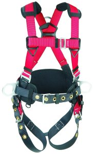 Protecta PRO, 1191209 Construction Harness, Back And Side D-Rings, Hip Pad And Belt, Pass Thru Legs, 420-Pound Capacity, MedLarge, RedGray