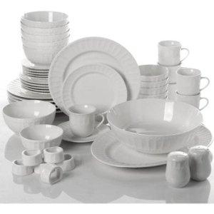 Regalia 46-Piece White Dinnerware and Serveware Set