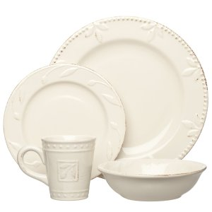 Signature Housewares Sorrento Collection Stoneware 4-Piece Dinnerware Set, Ivory Antiqued Finish