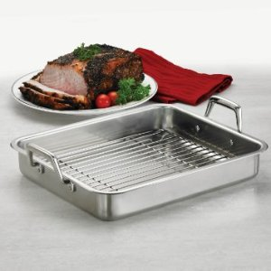 Tramontina 80203003DS Gourmet Prima 13.5-Inch Rectangular Roasting Pan with Basting Grill, Small, Stainless Steel