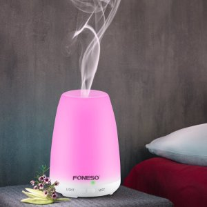 100ml Foneso Essential Oil Diffuser Ultrasonic Aromatherapy Cool Mist Humidifier Whisper Quiet Waterless Auto Shut-off 7 Colors Changing LED Lights Adjustable Mist for Baby Room Home Office Bedroom