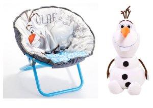 Disney Frozen Olaf Ultrasoft Folding Saucer Chair and Olaf Cuddle Pillow - 2 Piece Set