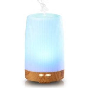 Essential Oil Diffuser, Euph 100ml Wood Grain Cool Mist Humidifer Ultrasonic Aromatherapy Oil Diffuser with 7 Color LED Lights Changing for Home, Office, Baby, Yoga, SPA