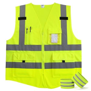 Fnova 4 Pockets Class 2 High Visibility Zipper Front Safety Vest With Reflective Strips, 2 Bonus Reflective Bands Included, Neon Yellow Meets ANSIISEA Standards