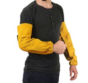Joyutoy Welding Sleeves Leather Yellow 18 Elastic Cuff Heat Resistant Protect Hand And Arm Welding Apparel For Welding Glass Transport And Processing