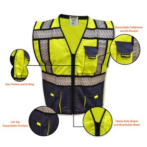 KwikSafety Class 2 High Visibility Heavy Duty Reflective Safety Vest Segmented Fishbone Tape Design, iPocket & Multiple Pockets with Contrasting Blue Mesh,