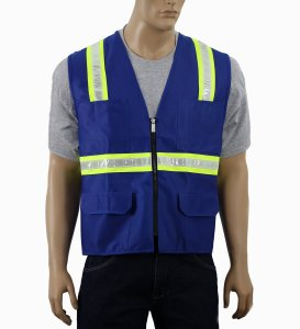 Safety Depot Two Tone Royal Blue Reflective Surveyor Safety Vest with Zipper and Pockets Hi-Vis (Large)