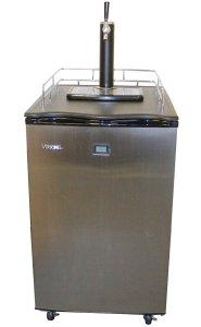Versonel VSL155TDSS Freestanding Full Keg Kegerator Beer Fridge Dispenser LCD Temp, BlackStainless Steel