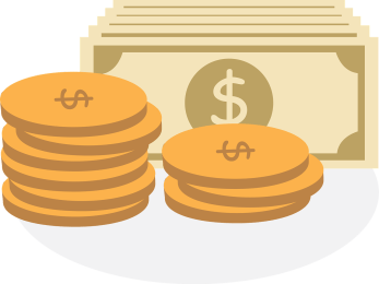 illustration of dollar bills and yellow coins