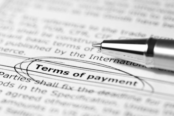 terms of payment circled in pen with a silver pen next to it