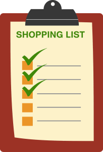 a shopping list on a clipboard with 3 green checkmarks on the first three boxes.
