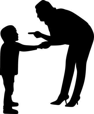 silhouette of a parent holding a kids hand while bent down and pointing their finger at the kid.