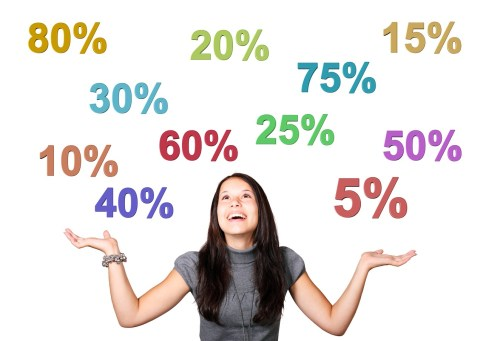 woman with her hands up and looking up at a bunch of different discount numbers.