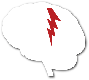 white silhouette of a brain with a red lighting bolt in the middle of it