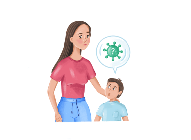 illustration of a woman with her hand on a boys head and the boy had a speech bubble with a virus in it
