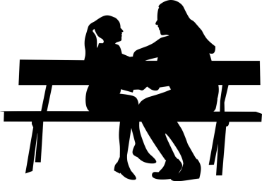 silhouette of a woman and a child talking on a bench