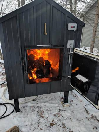 Ezboilers wood stove in operation.