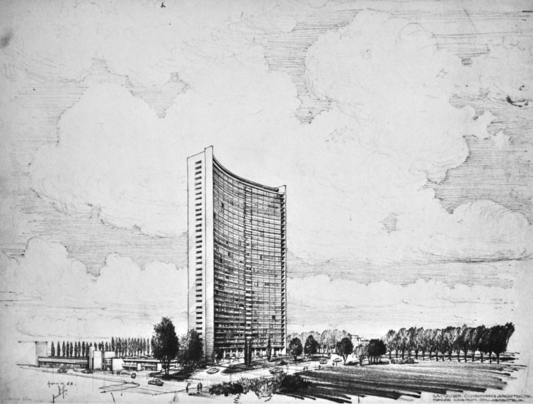 Plan de la Tour Brusilia en 1968 (http://www.irismonument.be/)