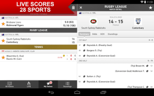 Match Detail Android sports live scores on your mobile