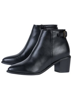 This heeled buckle boot would work beautifully with a pair of low denier tights, or no tights at all if you can brave the cold, and a gorgeous flared dress.