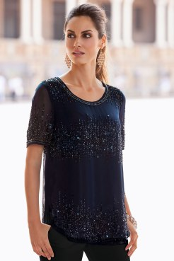 Together Beaded Top in Midnight Blue