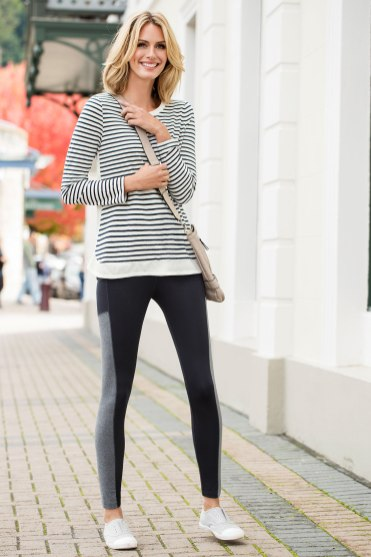 Laid back and versatile - Stripe Top and Panelled Leggings