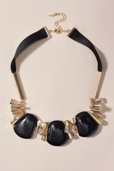 Accessorising with a necklace: Next Gold Coloured Necklace with Resin Detail