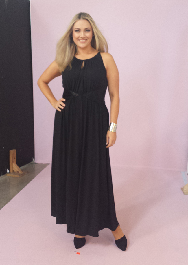 In studio – it's time for evening wear and I'm wearing a fabulous black maxi dress