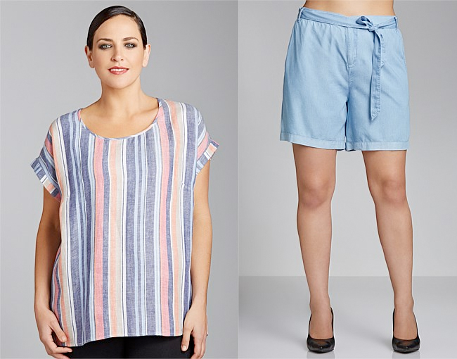 Sara Stripe Woven Tee | Emerge Woman Tie Front Shorts