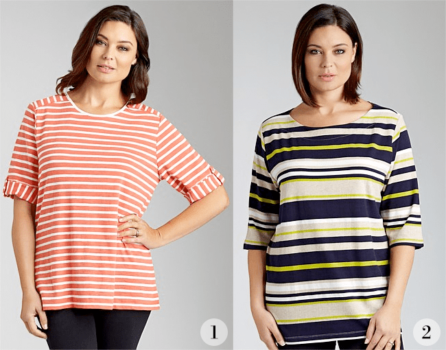 1. Sara Striped Tee; 2. Sara Striped Tee