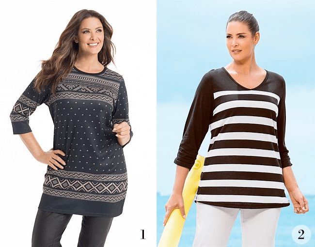 1. Sara Print Longline Tunic; 2. Sara Striped Tunic