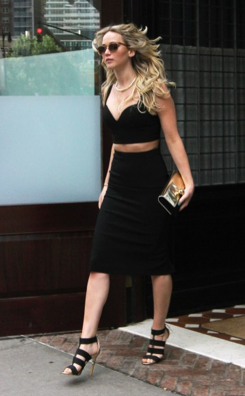 Jennifer Lawrence wearing her pencil skirt with a crop top