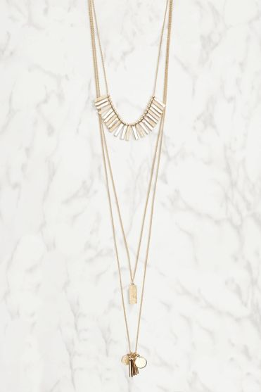 Accessorising with a necklace: Next Gold Coloured Delicate Layered Necklace
