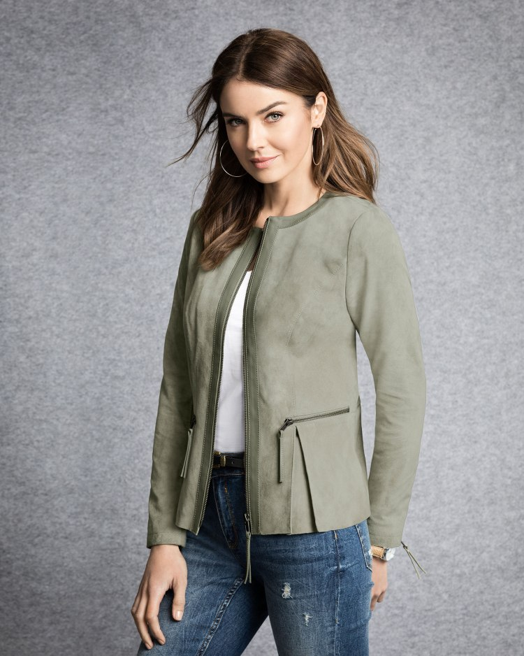 Ultra soft Suede Jacket in Sage