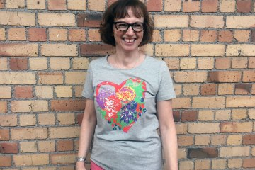 Linda wearing Breast Cancer Cure T-shirt