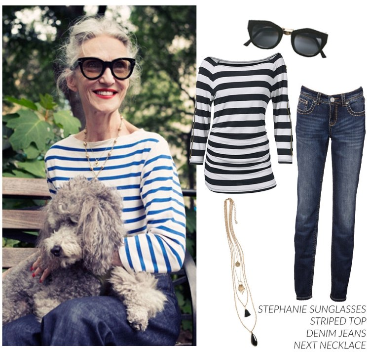 Linda Rodin Stripe Top and Denim Jeans