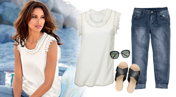 Natalia's Wishlist: White top, denim jeans, flatforms and sunnies