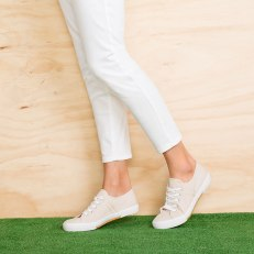 Wide Fit Lace Up Sneaker in Natural 155793