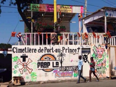 Government-sponsored carnival stand where the electrocution occurred with Martelly pink death motif